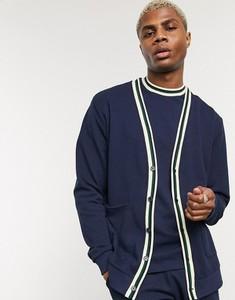 Granatowy sweter Asos z tkaniny