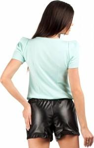 Zielona bluzka MOE z krótkim rękawem z okrągłym dekoltem