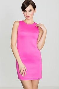 Różowa sukienka LENITIF z okrągłym dekoltem