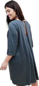 Granatowa sukienka Junarose z okrągłym dekoltem z długim rękawem oversize
