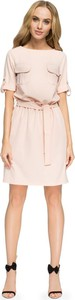 Różowa sukienka Stylove z krótkim rękawem mini w stylu casual