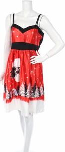 Czerwona sukienka Dressfo z dekoltem w kształcie litery v na ramiączkach mini