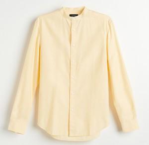 Żółta koszula Reserved z bawełny z długim rękawem