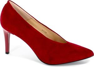 Czerwone szpilki Sala w stylu klasycznym ze skóry na obcasie