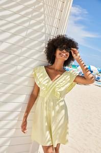 Sukienka ORSAY z dekoltem w kształcie litery v z krótkim rękawem z tkaniny