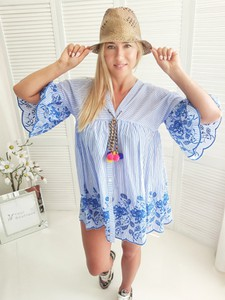 Sukienka yourboutique.pl oversize mini z długim rękawem