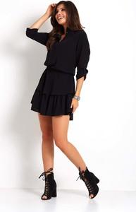 Czarna sukienka Ivon mini z długim rękawem