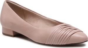 Różowe baleriny Tamaris ze skóry