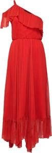Czerwona sukienka DESIGNERS REMIX midi z jedwabiu bez rękawów