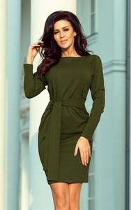 Zielona sukienka NUMOCO z długim rękawem mini z okrągłym dekoltem
