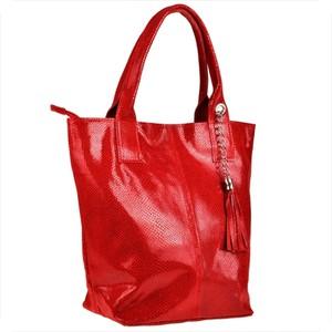 Czerwona torebka Borse in Pelle duża ze skóry