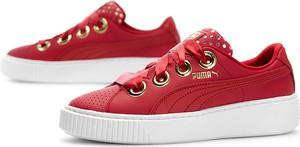 Czerwone trampki Puma niskie ze skóry na platformie