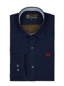 Granatowa koszula La Martina z żakardu z długim rękawem