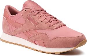 Różowe buty sportowe Reebok z płaską podeszwą ze skóry