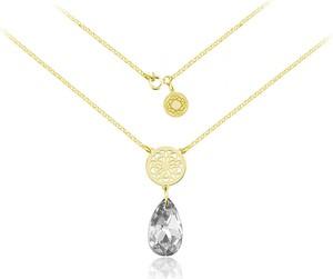 Lian Art Srebrny naszyjnik z rozetą Madeleine i kryształem Swarovski® - migdał 16mm 24k złocenie