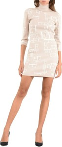 Sukienka Elisabetta Franchi z długim rękawem dopasowana z żakardu