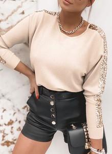 Bluzka Sandbella w stylu casual z okrągłym dekoltem z długim rękawem