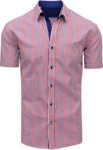Fioletowa koszula dstreet z bawełny z krótkim rękawem