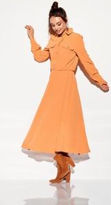 Pomarańczowa sukienka Lemoniade koszulowa maxi z długim rękawem