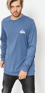 Niebieski t-shirt Quiksilver z dżerseju w stylu casual z długim rękawem