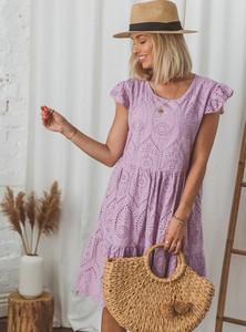 Fioletowa sukienka SELFIEROOM z bawełny z okrągłym dekoltem