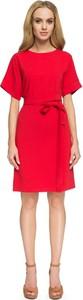 Czerwona sukienka Stylove z krótkim rękawem z okrągłym dekoltem w stylu casual