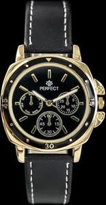ZEGAREK DAMSKI PERFECT E602 - black/gold (zp744e) - Czarny    Złoty