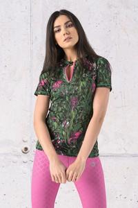 Zielona bluzka Nessi Sportswear z dzianiny z dekoltem w kształcie litery v