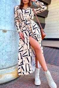 Sukienka IVET z długim rękawem maxi