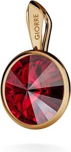 GIORRE SREBRNY WISIOREK SWAROVSKI RIVOLI 925 : Kolor kryształu SWAROVSKI - Siam, Kolor pokrycia srebra - Pokrycie Różowym 18K Złotem