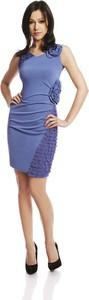 Niebieska sukienka Fokus z dekoltem w kształcie litery v dopasowana