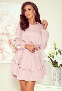 Różowa sukienka NUMOCO mini w stylu casual z okrągłym dekoltem