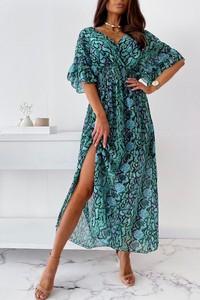 Sukienka IVET z dekoltem w kształcie litery v z krótkim rękawem maxi