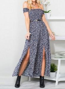 Niebieska sukienka Cikelly maxi z krótkim rękawem
