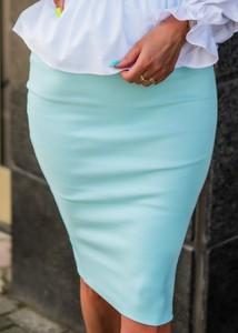 Niebieska spódnica Fason mini z bawełny