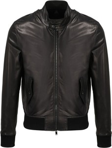 Czarna kurtka Tagliatore w stylu casual ze skóry krótka
