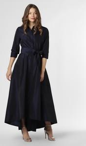 Granatowa sukienka Vera Mont Collection maxi z długim rękawem
