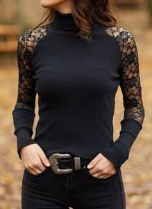 Czarna bluzka Cikelly w stylu casual z golfem z długim rękawem