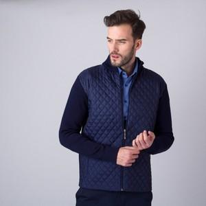 Granatowy sweter Willsoor ze stójką w stylu casual z wełny