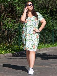 Sukienka KARKO midi z dekoltem w kształcie litery v z krótkim rękawem