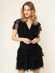 Czarna sukienka Liu-Jo z krótkim rękawem mini rozkloszowana
