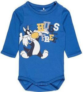 Niebieskie body niemowlęce name it z nadrukiem z bawełny