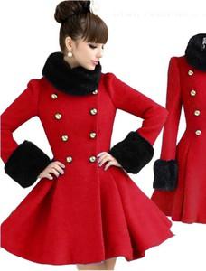Styl asyk damski zimowy rozkloszowany płaszcz czerwony