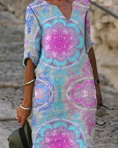 Sukienka Kendallme z okrągłym dekoltem z długim rękawem w stylu casual