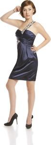 Granatowa sukienka Fokus asymetryczna z asymetrycznym dekoltem mini