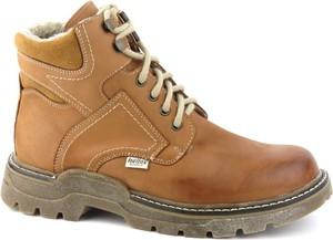 Brązowe buty zimowe Helios ze skóry sznurowane