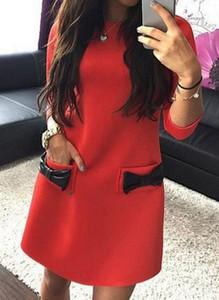 Czerwona sukienka Cikelly w stylu casual mini z długim rękawem
