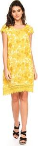 Żółta sukienka Fleur De Lin z krótkim rękawem mini z okrągłym dekoltem