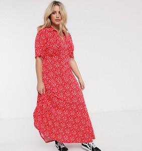Czerwona sukienka Asos maxi z krótkim rękawem
