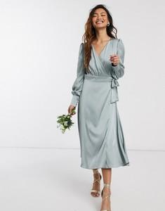 Zielona sukienka Tfnc z długim rękawem maxi